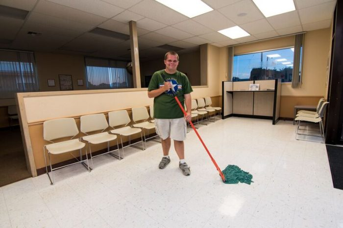 Man Mopping